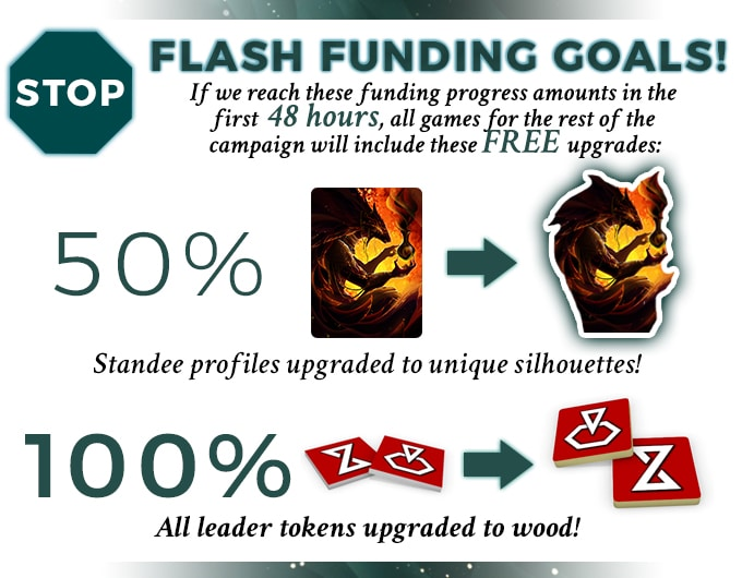 Flash Funding graphic from the Infinities: Defiance of Fate campaign